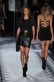 NEW YORK, NY - SEPTEMBER 07: Model Joan Smalls walks the runway at the Versus Versace Spring 2015 Collection Stock Photo