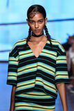 NEW YORK, NY - SEPTEMBER 07: Model Joline Braun walks the runway at DKNY Spring 2015 fashion collection Royalty Free Stock Photos