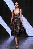 NEW YORK, NY - SEPTEMBER 08: Model Kati Nescher walks the runway at Donna Karan Spring 2015 fashion show Royalty Free Stock Photography