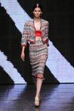 NEW YORK, NY - SEPTEMBER 08: Model Katlin Aas walks the runway at Donna Karan Spring 2015 fashion collection Stock Photo