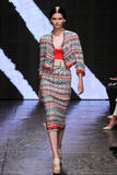 NEW YORK, NY - SEPTEMBER 08: Model Katlin Aas walks the runway at Donna Karan Spring 2015 fashion show Stock Photography