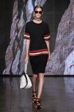 NEW YORK, NY - SEPTEMBER 07: Model Kremi Otashliyska walks the runway at DKNY Spring 2015 fashion collection Royalty Free Stock Images