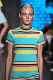 NEW YORK, NY - SEPTEMBER 07: Model Maja Salamon walks the runway at DKNY Spring 2015 fashion collection Stock Image