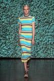 NEW YORK, NY - SEPTEMBER 07: Model Maja Salamon walks the runway at DKNY Spring 2015 fashion collection Stock Photography