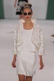 NEW YORK, NY - SEPTEMBER 08: Model Manuela Frey walks the runway at the Carolina Herrera fashion show. During MBFW Spring 2015 at The Theatre at Lincoln Center royalty free stock images