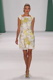 NEW YORK, NY - SEPTEMBER 08: Model Martha Hunt walks the runway at the Carolina Herrera fashion show. During MBFW Spring 2015 at The Theatre at Lincoln Center Royalty Free Stock Image