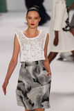 NEW YORK, NY - SEPTEMBER 08: Model Naty Chabanenko walks the runway at the Carolina Herrera fashion show. During MBFW Spring 2015 at The Theatre at Lincoln Stock Image