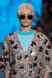 NEW YORK, NY - SEPTEMBER 07: Model Nora Vai walks the runway at DKNY Spring 2015 fashion collection Stock Image