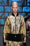 NEW YORK, NY - SEPTEMBER 07: Model Ola Rudnicka walks the runway at DKNY Spring 2015 fashion collection Royalty Free Stock Photography