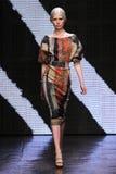 NEW YORK, NY - SEPTEMBER 08: Model Ola Rudnicka walks the runway at Donna Karan Spring 2015 fashion collection Stock Images