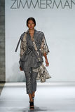 NEW YORK, NY - SEPTEMBER 05: Model Ping Hue Cheung walks the runway at the Zimmermann fashion show Stock Images