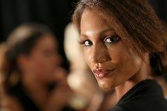 NEW YORK, NY - SEPTEMBER 06: A model poses backstage at Venexiana Stock Photo