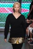 NEW YORK, NY - SEPTEMBER 07: Model Soo Joo Park walks the runway at DKNY Spring 2015 fashion collection Stock Image