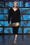 NEW YORK, NY - SEPTEMBER 07: Model Soo Joo Park walks the runway at DKNY Spring 2015 fashion collection Stock Photography