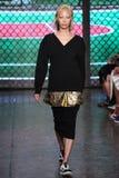 NEW YORK, NY - SEPTEMBER 07: Model Soo Joo Park walks the runway at DKNY Spring 2015 fashion collection Royalty Free Stock Photo