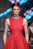 NEW YORK, NY - SEPTEMBER 07: Model Sophie Touchet walks the runway at DKNY Spring 2015 fashion collection Royalty Free Stock Photos