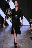 NEW YORK, NY - SEPTEMBER 08: Model Suvi Koponen walks the runway at Donna Karan Spring 2015 fashion show Stock Images