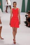 NEW YORK, NY - SEPTEMBER 08: Model Tanya Katysheva walk the runway at the Carolina Herrera fashion show. During MBFW Spring 2015 at The Theatre at Lincoln Stock Photo