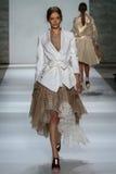 NEW YORK, NY - SEPTEMBER 05: Model Tanya Katysheva walks the runway at the Zimmermann fashion show Stock Image