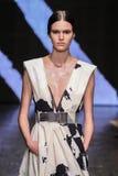 NEW YORK, NY - SEPTEMBER 08: Model Vanessa Moody walks the runway at Donna Karan Spring 2015 fashion show Stock Photography
