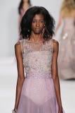 NEW YORK, NY - SEPTEMBER 09: A model walks the runway at the Badgley Mischka fashion show Royalty Free Stock Photos