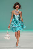 NEW YORK, NY - SEPTEMBER 10: A model walks the runway at Betsey Johnson Spring 2015 fashion collection Royalty Free Stock Images