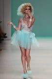 NEW YORK, NY - SEPTEMBER 10: A model walks the runway at Betsey Johnson Spring 2015 fashion collection Royalty Free Stock Photo