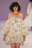 NEW YORK, NY - SEPTEMBER 10: A model walks the runway at Betsey Johnson Spring 2015 fashion collection Stock Photos