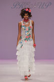 NEW YORK, NY - SEPTEMBER 10: A model walks the runway at Betsey Johnson Spring 2015 fashion collection Stock Photo
