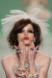 NEW YORK, NY - SEPTEMBER 10: A model walks the runway at Betsey Johnson Spring 2015 fashion collection Stock Photography