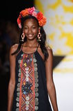 NEW YORK, NY - SEPTEMBER 04: A model walks the runway at Desigual Stock Photography