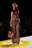 NEW YORK, NY - SEPTEMBER 04: A model walks the runway at Desigual Spring 2015 fashion show Royalty Free Stock Photography