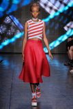 NEW YORK, NY - SEPTEMBER 07: A model walks the runway at DKNY Spring 2015 fashion collection Stock Photography