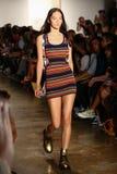 NEW YORK, NY - SEPTEMBER 10: A model walks the runway at the Jeremy Scott fashion show Royalty Free Stock Photo