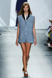 NEW YORK, NY - SEPTEMBER 06: A model walks the runway at Lacoste Spring 2015 fashion show Royalty Free Stock Photos
