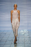 NEW YORK, NY - SEPTEMBER 06: A model walks the runway at the LIE SANGBONG Spring-Summer 2015 Collection Royalty Free Stock Images