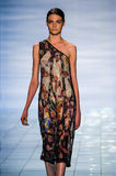 NEW YORK, NY - SEPTEMBER 06: A model walks the runway at the LIE SANGBONG Spring-Summer 2015 Collection Royalty Free Stock Photos