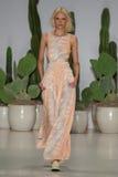 NEW YORK, NY - SEPTEMBER 06: A model walks the runway at the Mara Hoffman Spring-Summer 2015 Collection Stock Photos