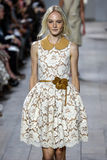 NEW YORK, NY - SEPTEMBER 10: A model walks the runway at Michael Kors Spring 2015 fashion collection Royalty Free Stock Photography