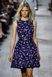 NEW YORK, NY - SEPTEMBER 10: A model walks the runway at Michael Kors Spring 2015 fashion collection Stock Photo