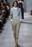 NEW YORK, NY - SEPTEMBER 10: A model walks the runway at Michael Kors Spring 2015 fashion collection Stock Photos