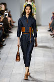 NEW YORK, NY - SEPTEMBER 10: A model walks the runway at Michael Kors Spring 2015 fashion collection Stock Photo