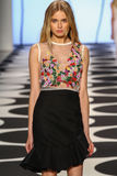NEW YORK, NY - SEPTEMBER 05: A model walks the runway at Nicole Miller Spring 2015 fashion show Stock Photography