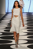 NEW YORK, NY - SEPTEMBER 05: A model walks the runway at Nicole Miller Spring 2015 fashion show Stock Photos