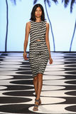 NEW YORK, NY - SEPTEMBER 05: A model walks the runway at Nicole Miller Spring 2015 fashion show Royalty Free Stock Image
