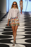 NEW YORK, NY - SEPTEMBER 05: A model walks the runway at Nicole Miller Spring 2015 fashion show Stock Image