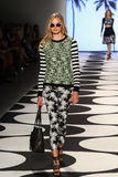 NEW YORK, NY - SEPTEMBER 05: A model walks the runway at Nicole Miller Spring 2015 fashion show Stock Photo