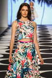 NEW YORK, NY - SEPTEMBER 05: A model walks the runway at Nicole Miller Spring 2015 fashion show Stock Images