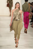 NEW YORK, NY - SEPTEMBER 11: A model walks the runway at Ralph Lauren Spring 2015 fashion collection Stock Photography