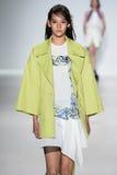 NEW YORK, NY - SEPTEMBER 04: A model walks the runway at Richard Chai Love Spring 2015 fashion show Stock Photo